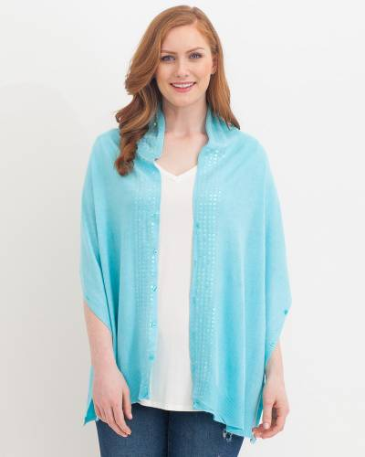 Soft Sequin Wrap in Turquoise