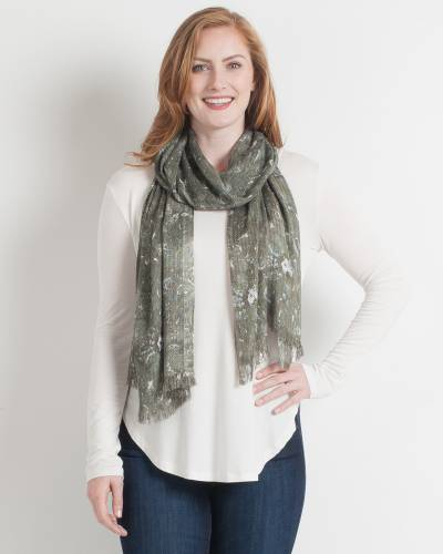 Abstract Paisley Scarf in Fern