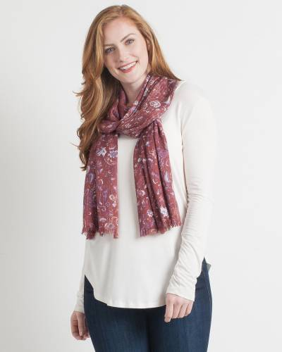 Abstract Paisley Scarf in Orchid