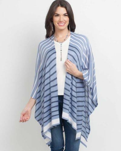 Denim Stripe Cardigan Wrap