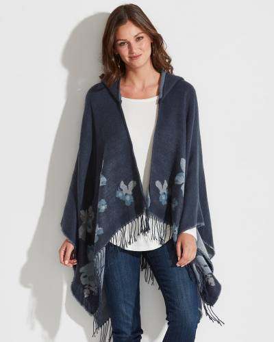 Exclusive Floral Hooded Wrap in Navy