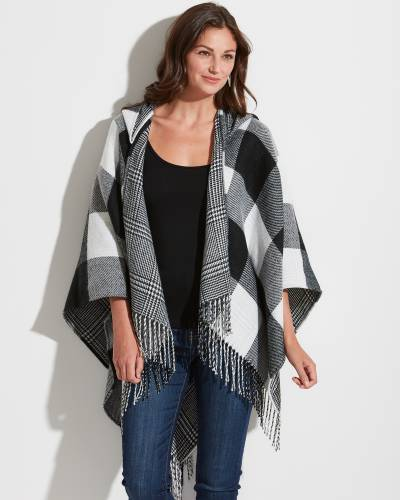 Exclusive Plaid Hooded Wrap in Black and White