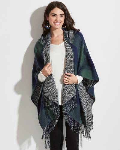 Navy and Green Plaid Wrap