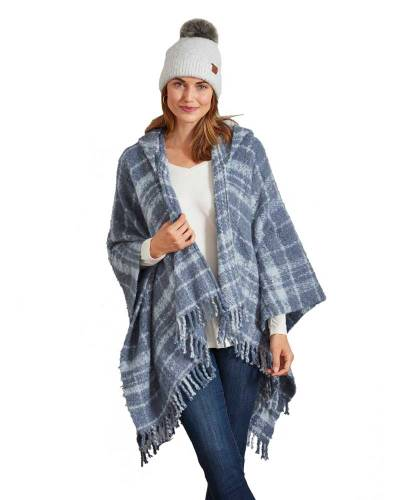 Exclusive Plaid Wrap in Misty Blue
