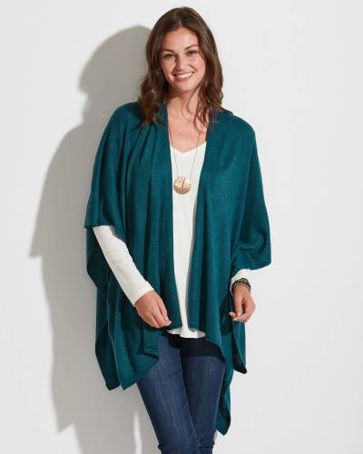 Exclusive Soft Cardigan Wrap in Teal