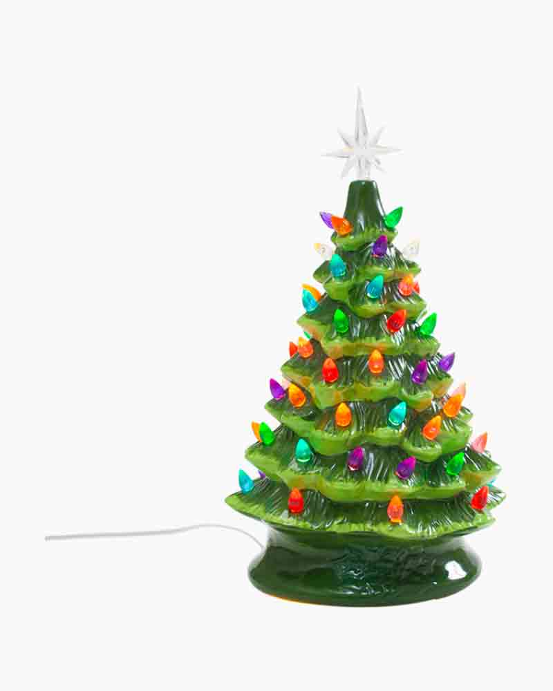 15 Ceramic Table Top Christmas Tree With Lights Alternate View