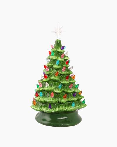 Ceramic Table Top Christmas Tree with Lights 15-inch