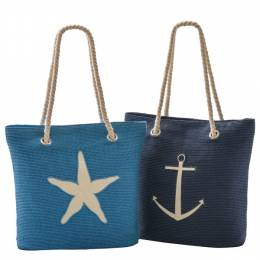 Opportunities, Inc. Nautical Straw Tote