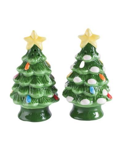 Ceramic Christmas Tree Salt and Pepper Shaker Set