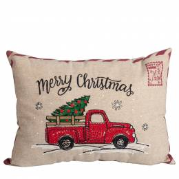 The Paper Store Christmas Truck Postcard Throw Pillow