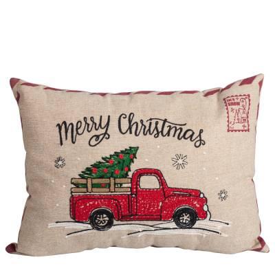 Christmas Truck Postcard Throw Pillow
