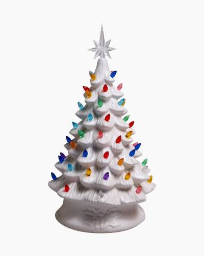 Ceramic Christmas Tree with Lights (White)