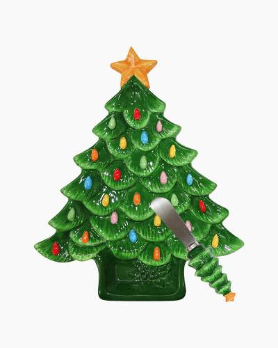 Christmas Tree Dish with Spreader