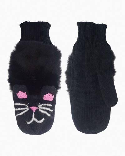 Plush Black Cat Mittens