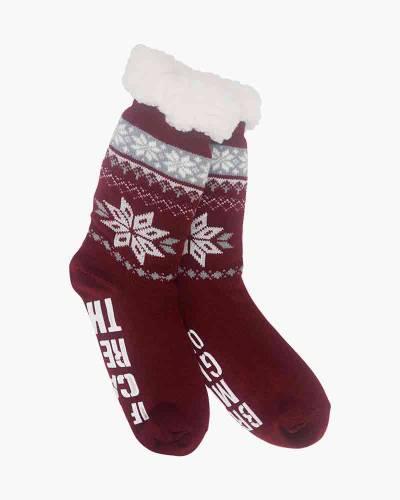 Wine Slipper Socks in Red
