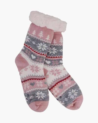 Pink Snowflake and Hearts Slipper Socks