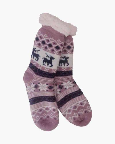Pink Snowflake Slipper Socks