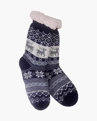 Blue Snowflake Slipper Socks