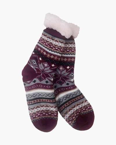Purple Snowflake Slipper Socks