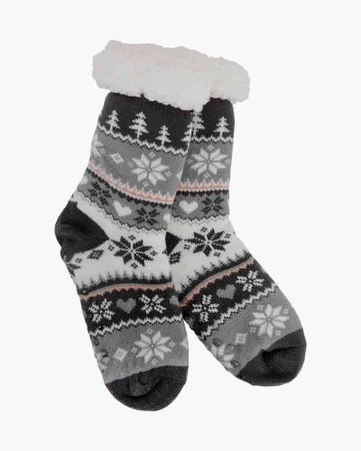 Black Snowflake and Hearts Slipper Socks
