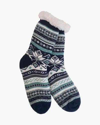 Turquoise Snowflake Slipper Socks