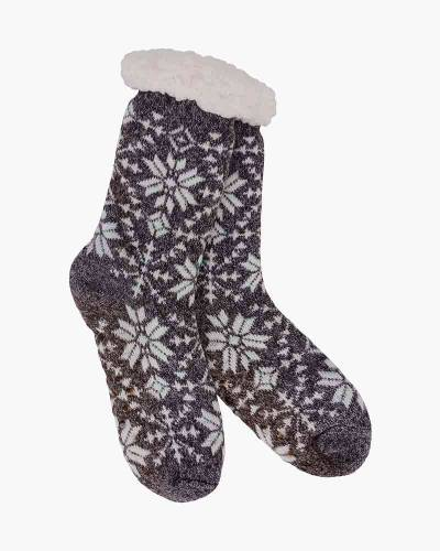 Snowflake Pattern Slipper Socks in Grey