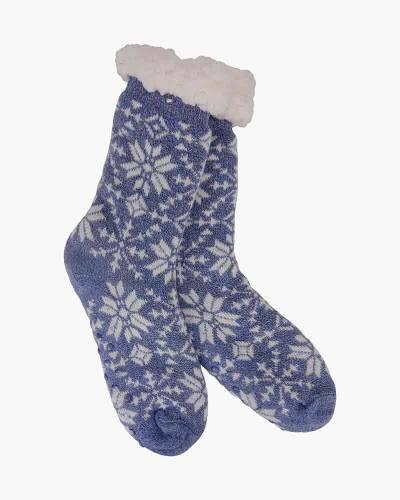 Snowflake Pattern Slipper Socks in Blue