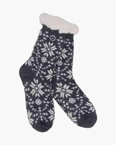 Snowflake Pattern Slipper Socks in Black