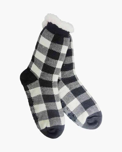 Plaid Pattern Slipper Socks in Black and White