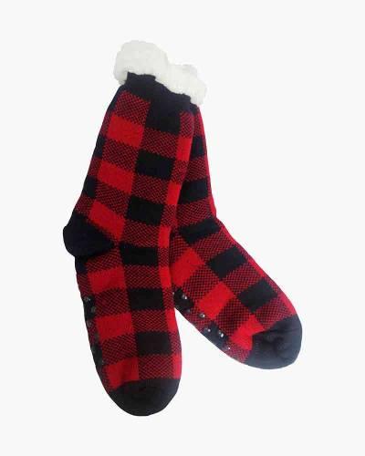 Plaid Pattern Slipper Socks in Red and Black