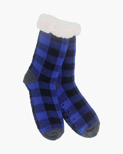 Plaid Pattern Slipper Socks in Blue and Black