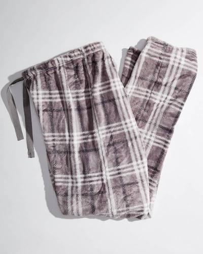 Exclusive Women's Grey Plaid Fleece Pajama Pants