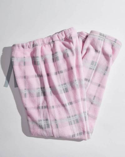 Exclusive Women's Pink Plaid Fleece Pajama Pants