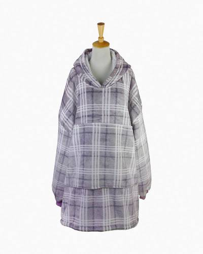 Plaid Sherpa Lined Oversized Pullover