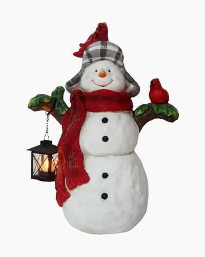 Snowman Door Figurine with Flicker Tea Light Lantern
