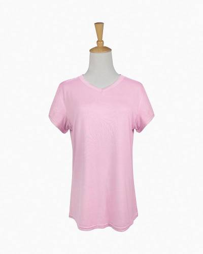 V-Neck Pajama Top in Pink