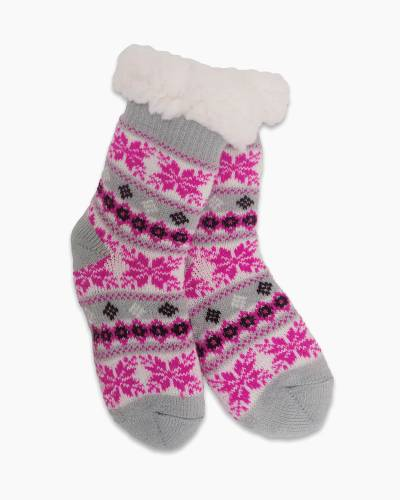 Exclusive Kid's Thermal Knit Slipper Socks in Hot Pink