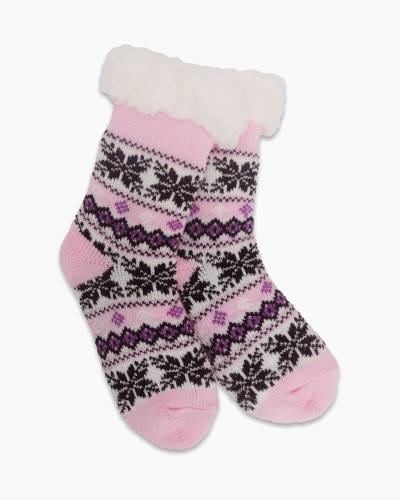 Exclusive Kid's Thermal Knit Slipper Socks in Light Pink