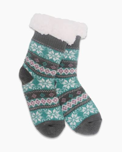 Exclusive Kid's Thermal Knit Slipper Socks in Turquoise