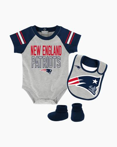 New England Patriots Blitz Baby Creeper, Bib, and Booties Set