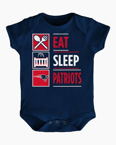 New England Patriots Eat Sleep Patriots Baby Creeper
