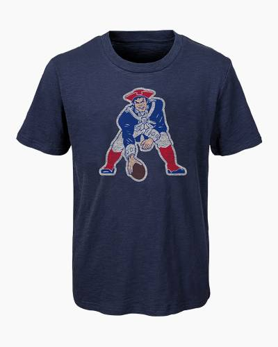 New England Patriots Youth Distressed Vintage Logo Tee