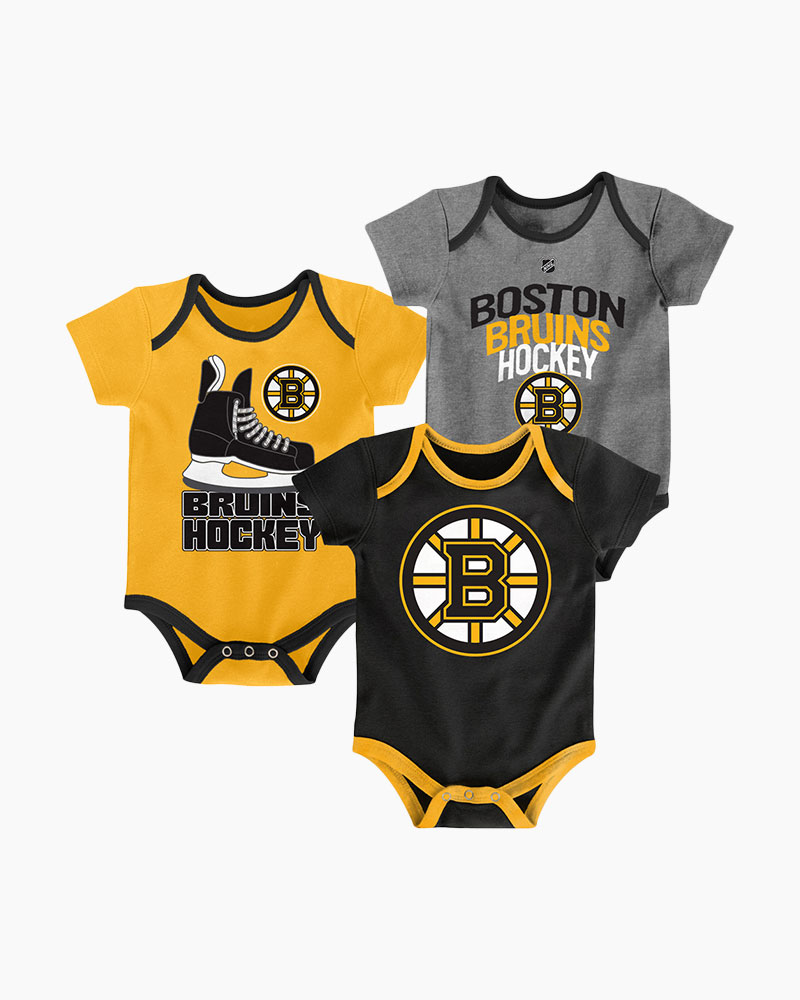 Outerstuff Accessories Boston Bruins Hat Trick Baby Creeper Set (3-Pack)  587ce00cd12