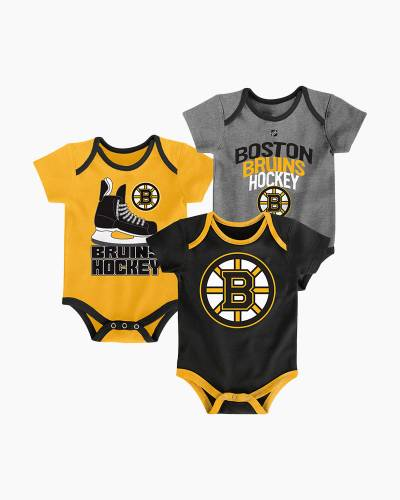 Boston Bruins Hat Trick Baby Creeper Set (3-Pack)