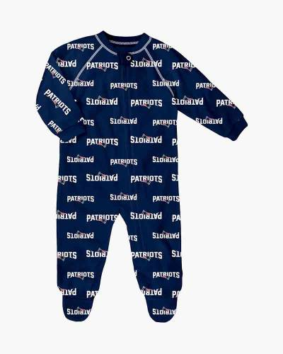 New England Patriots Baby Raglan Zip-up Coverall