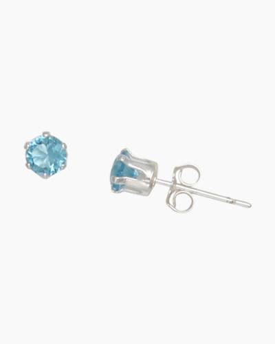 March Aquamarine 1/8 Inch Stud Earrings