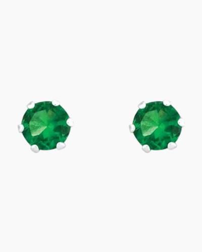 May Sterling Silver Birthstone Stud Earrings