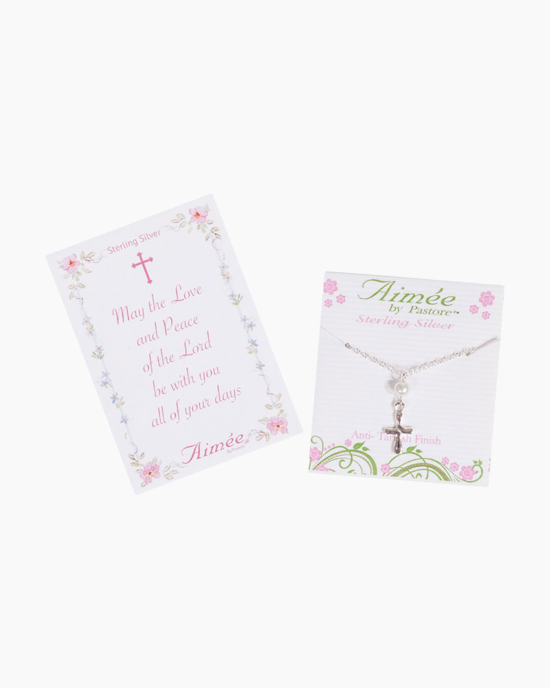 Aimee by Pastore Sterling Silver Curved Cross with Pearl Necklace
