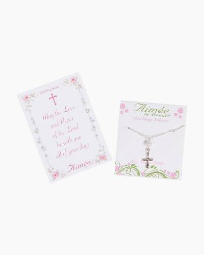 Sterling Silver Curved Cross with Pearl Necklace