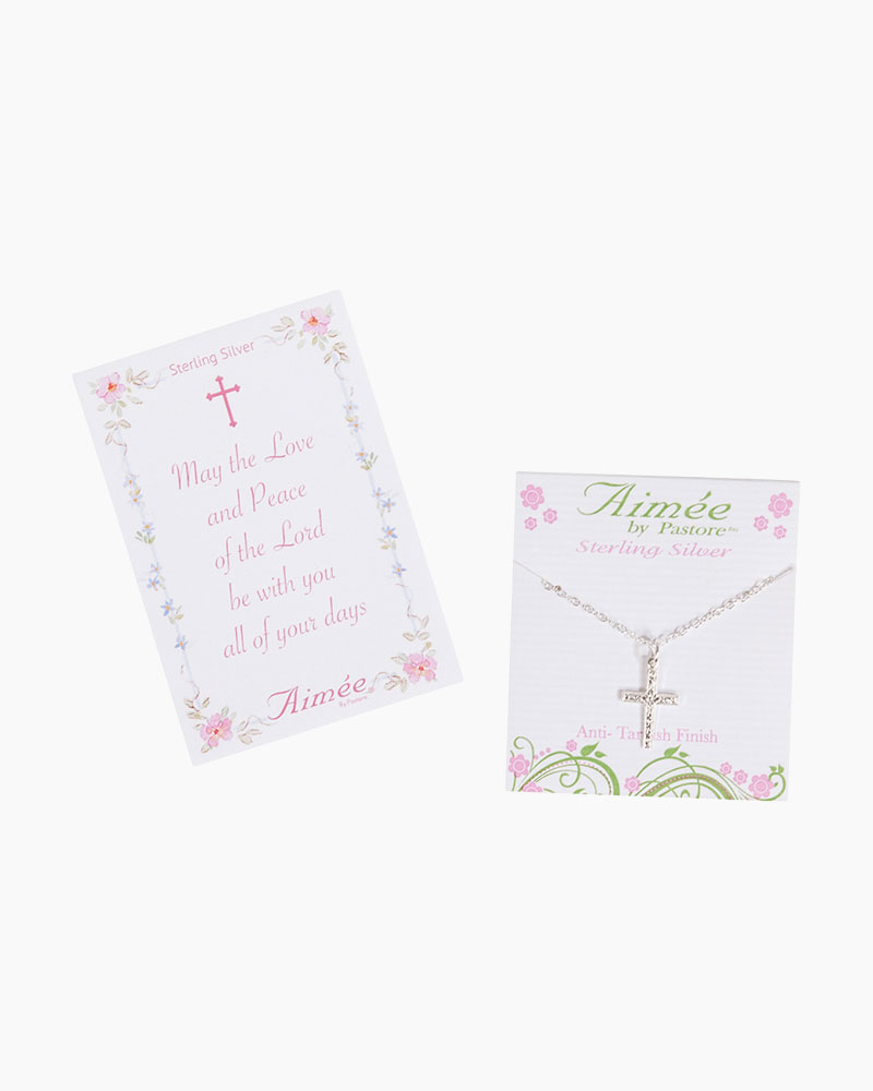 Aimee by Pastore Sterling Silver Etched Cross Necklace